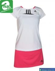 Áo váy tennis nữ có tay trắng hồng AV018